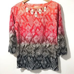 Ruby Rd. Favorites Long Sleeve Blouse Womens Small